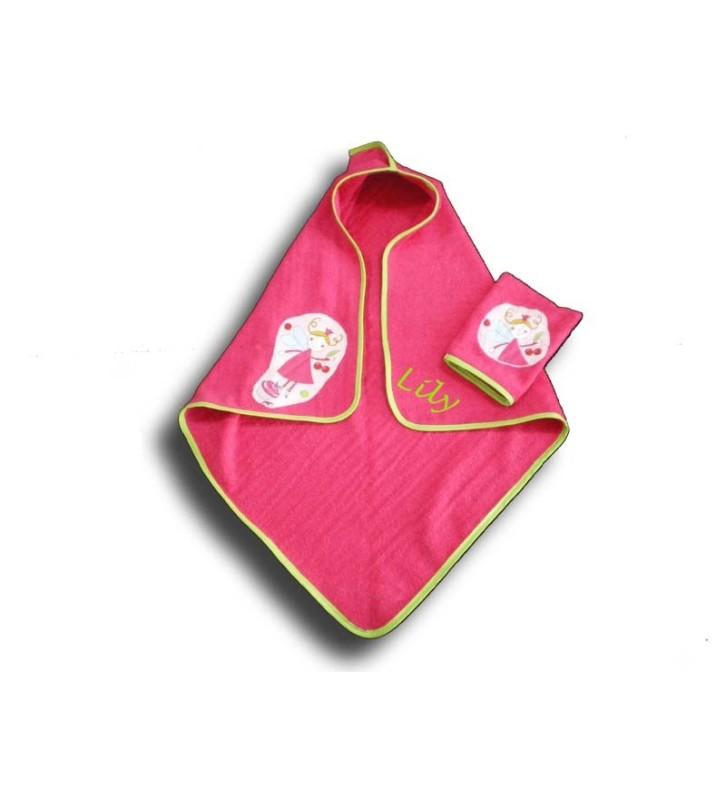 cape de bain naissance personnalisée Fée rose