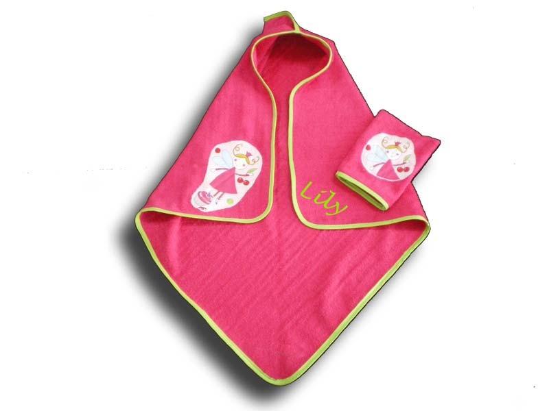 cape de bain bébé personnalisée Fée rose
