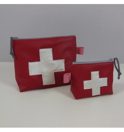 Trousse à Pharmacie - Simili cuir Rouge