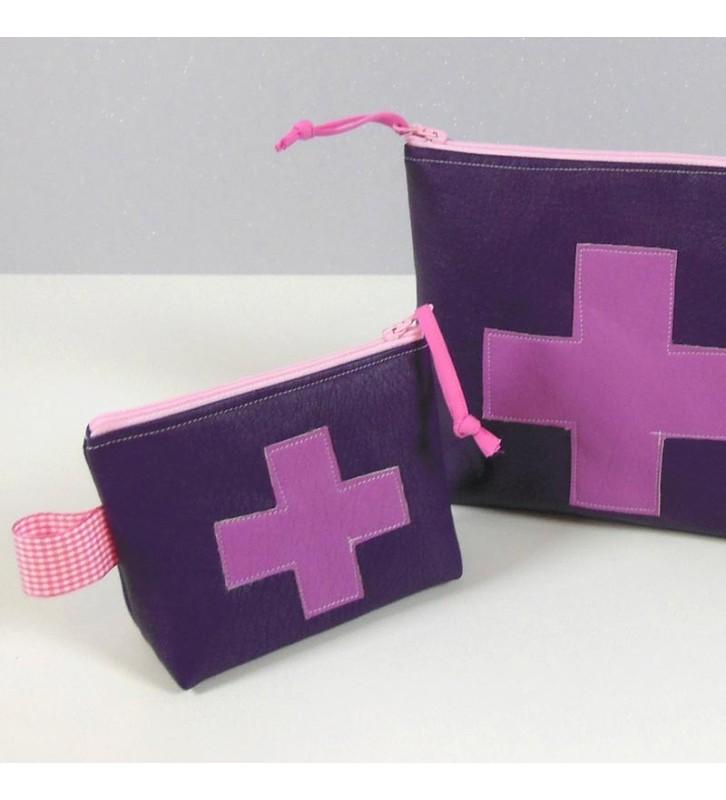 Trousse à Pharmacie - Simili cuir Violet