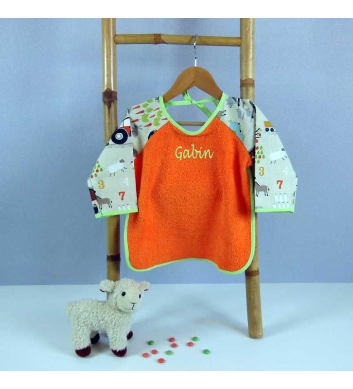 Bavoir Enfant orange avec Manches longues - Motif La Ferme Tracteur