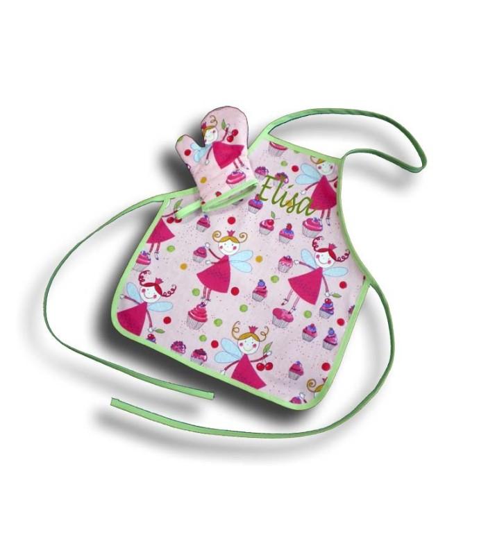 Tablier fille brodé + Manique motif Fée rose taille 2 ans