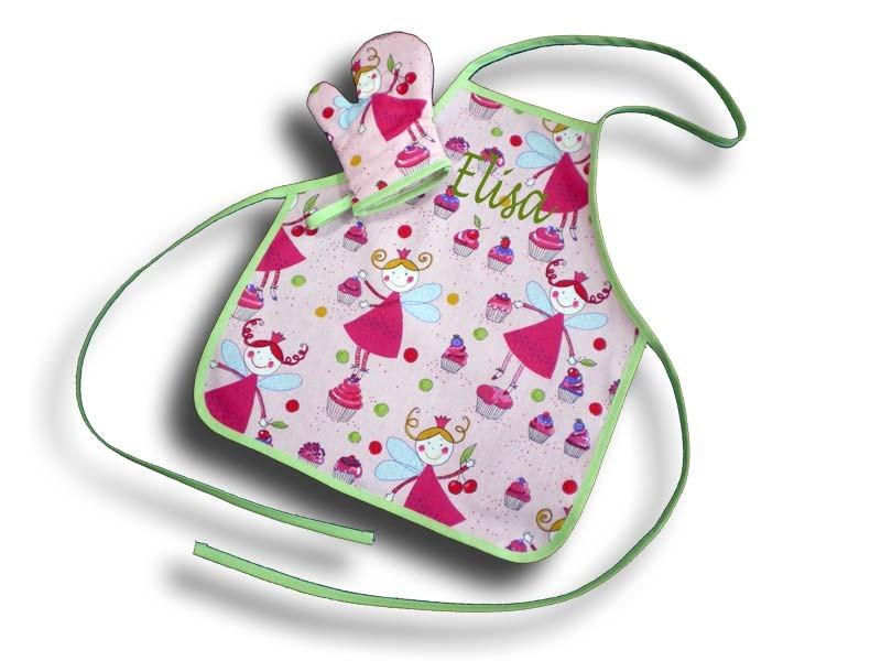Tablier brodé fille 2-4 ans + Manique motif Fée rose