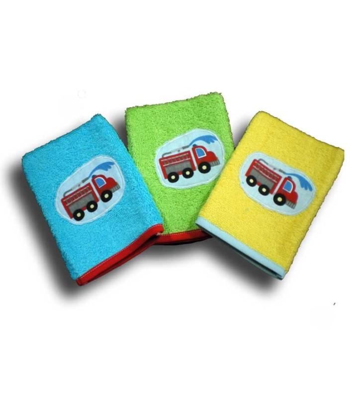 lot de 3 gants de toilette éponge pour enfant camion de pompier