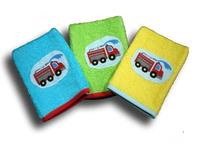 lot de 3 gants de toilette enfant camion de pompier