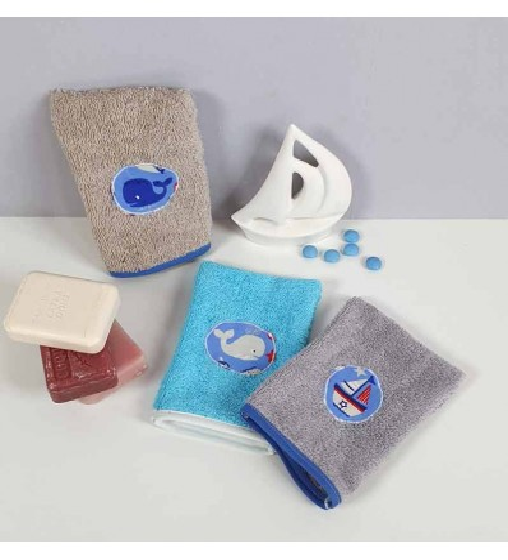 lot 3 gants de toilette enfant rigolo - Motif Marin