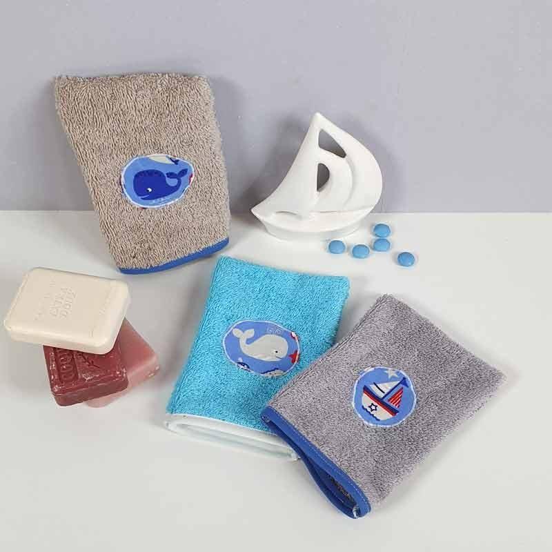 lot 3 gants de toilette enfant - Motif Marin