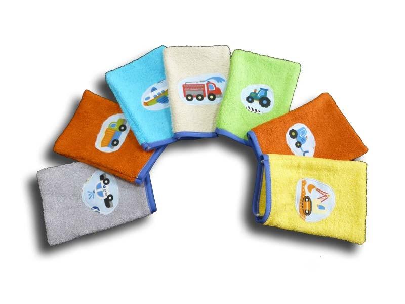 lot de 7 gants de toilette enfant motifs camion