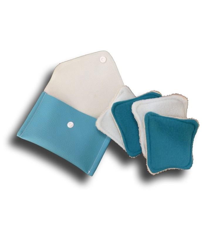 Pochette voyage 4 carrés démaquillant turquoise ouverte