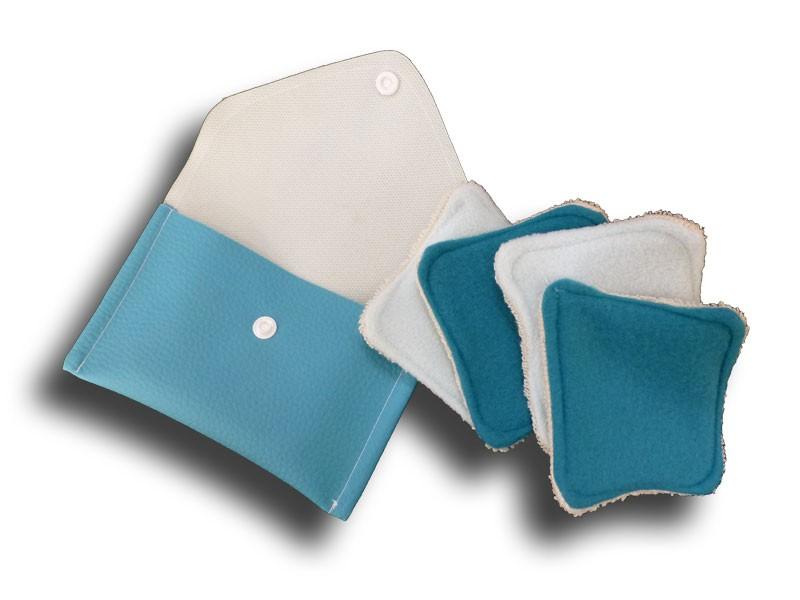 Pochette voyage 4 carrés démaquillant turquoise