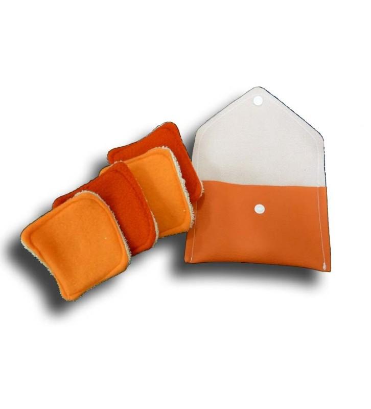 Pochette voyage 4 carrés démaquillant orange lavables