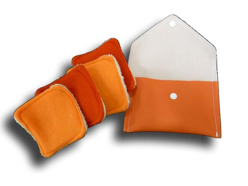 Pochette voyage 4 carrés démaquillant orange