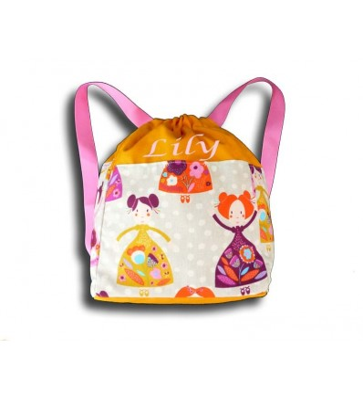 sac à dos maternelle - Princesse. Haut du sac orange.