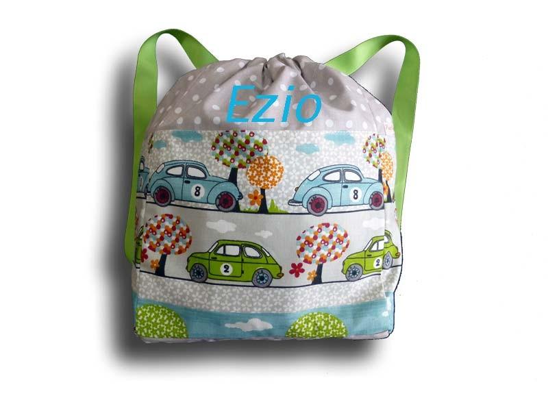 sac dos ecole avec des voitures sac dos enfant sac en tissu sac enfant personnalis. Black Bedroom Furniture Sets. Home Design Ideas
