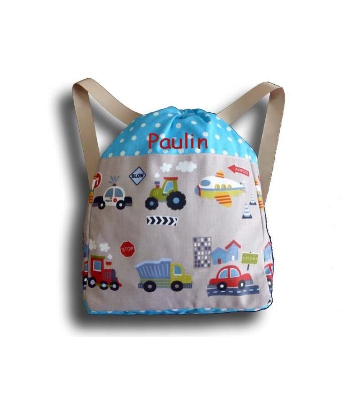 sac dos gar on avec des voitures et des camions sac dos enfant sac maternelle sac enfant. Black Bedroom Furniture Sets. Home Design Ideas