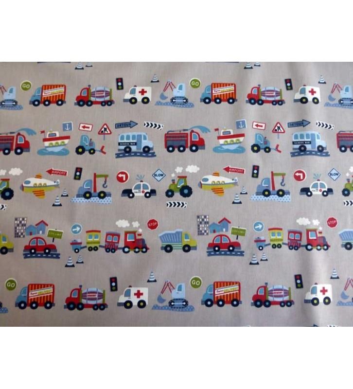Tissu pour enfant voitures et camions