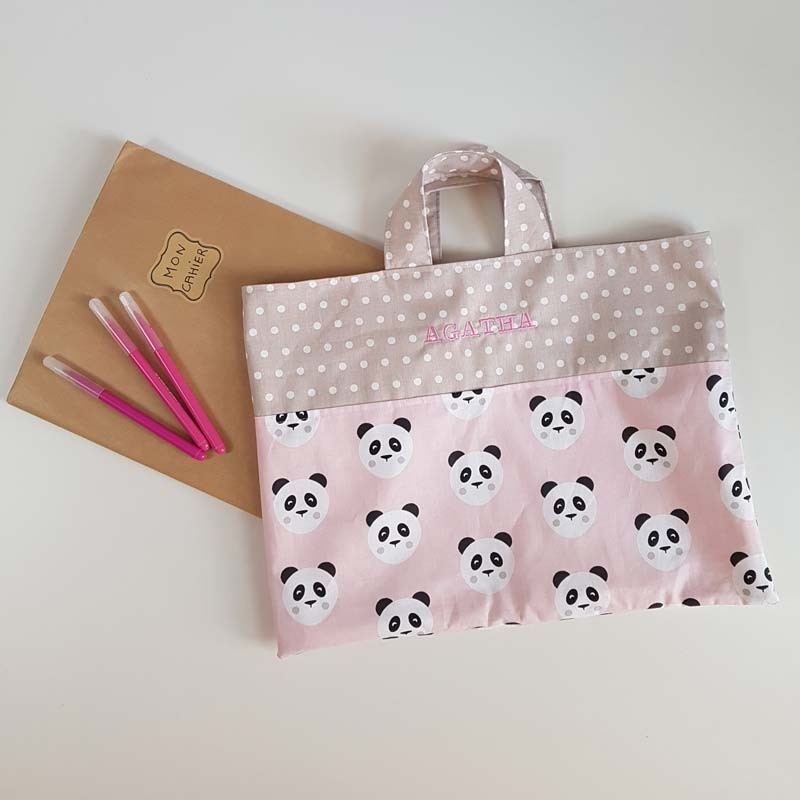 Sac Tissu pour Cahier de Vie - Panda Rose