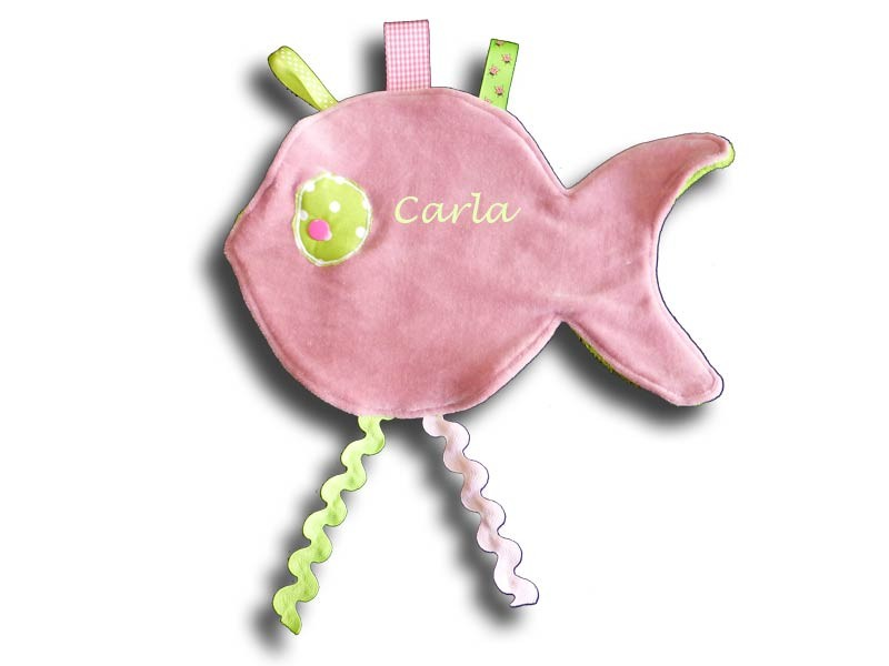 Doudou plat forme poisson rose et vert