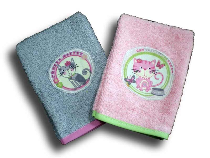 2 gants de toilette enfant motifs Minet