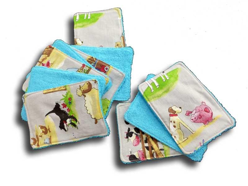 Lot 10 lingettes lavables pour la toilette de bébé - Motif Campagne
