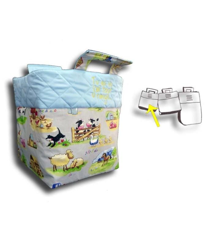 Petit sac à jouets personnalisé - Motif Campagne, haut du sac bleu