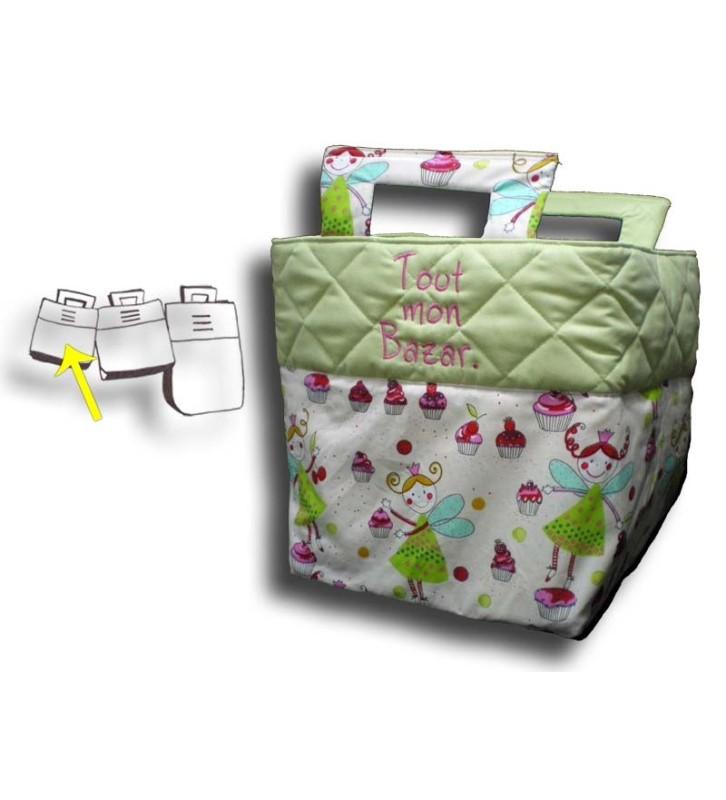 Petit sac à jouets personnalisé - Motif Fée verte, haut du sac vert