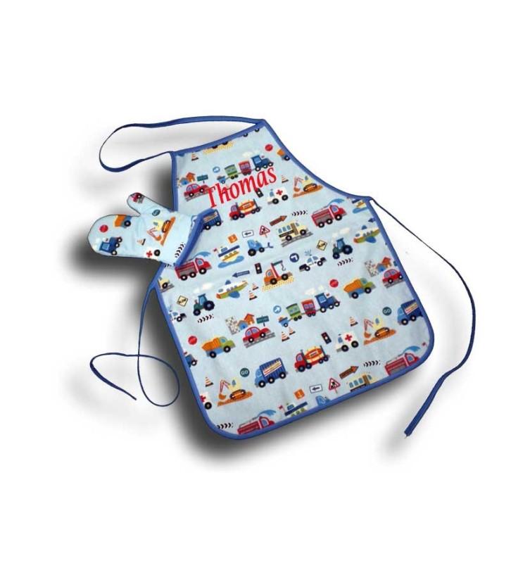 Tablier de cuisine garçon bleu 4 à 10 ans - Motif Camion