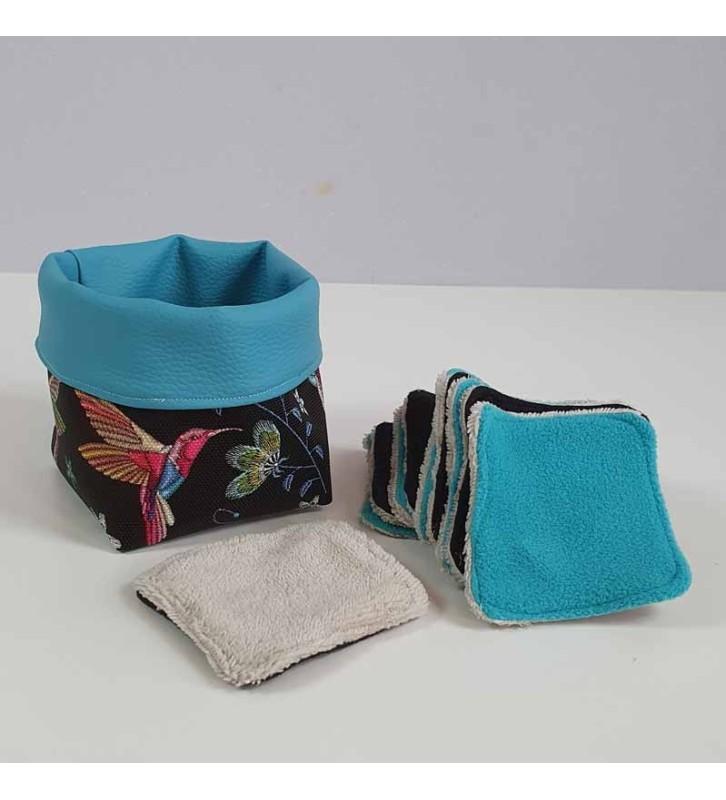 Coffret 10 coton démaquillants lavables - Motif Colibri Bleu