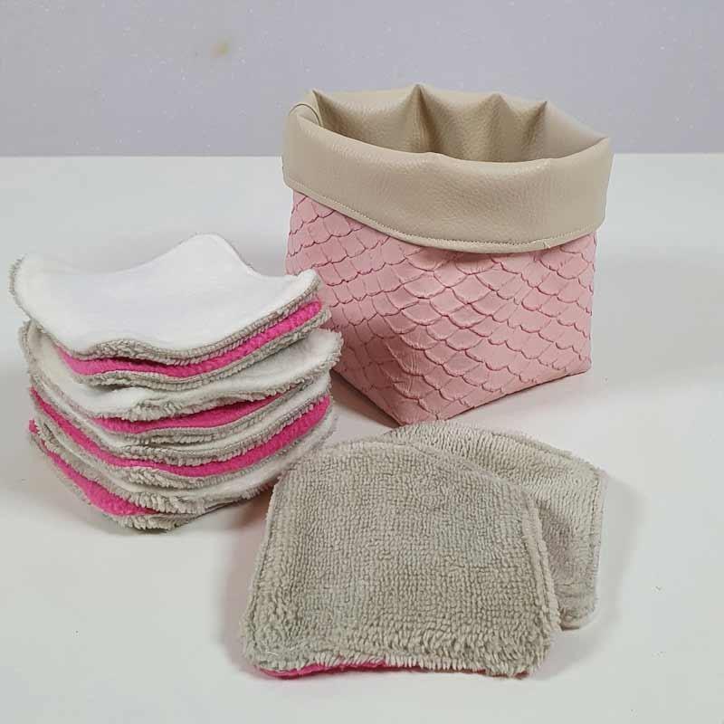 Coffret 10 coton démaquillants lavables - Motif Ecaille Rose