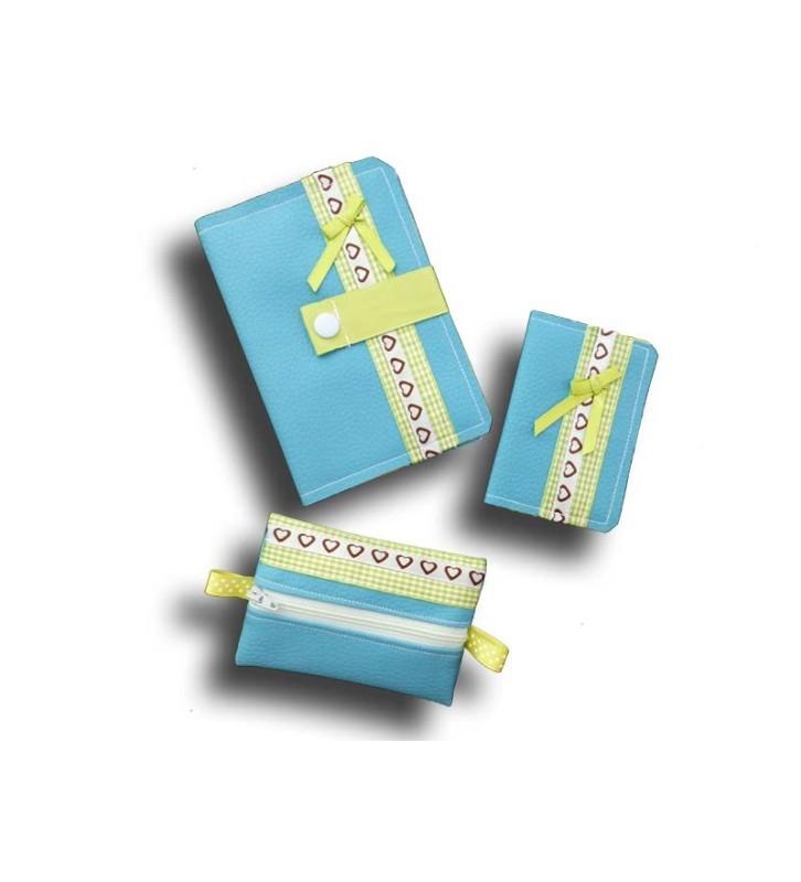 Ensemble porte feuille, porte cartes et porte monnaie - Couleur Bleu