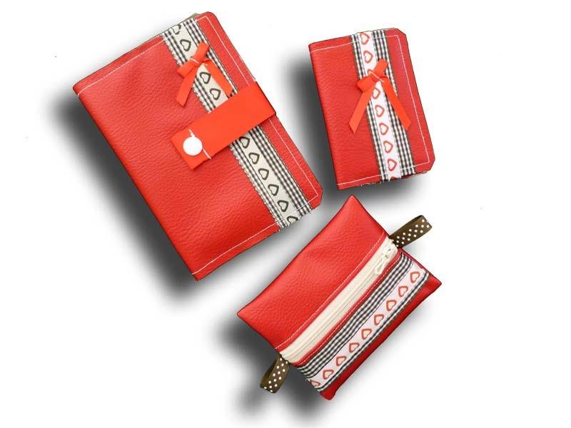 Ensemble porte feuille, porte cartes et porte monnaie - Couleur Rouge