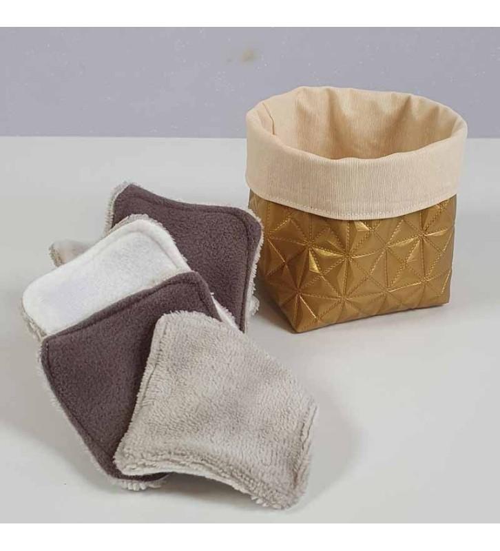 Coffret 10 coton démaquillants lavables - Motif Or Géométrique