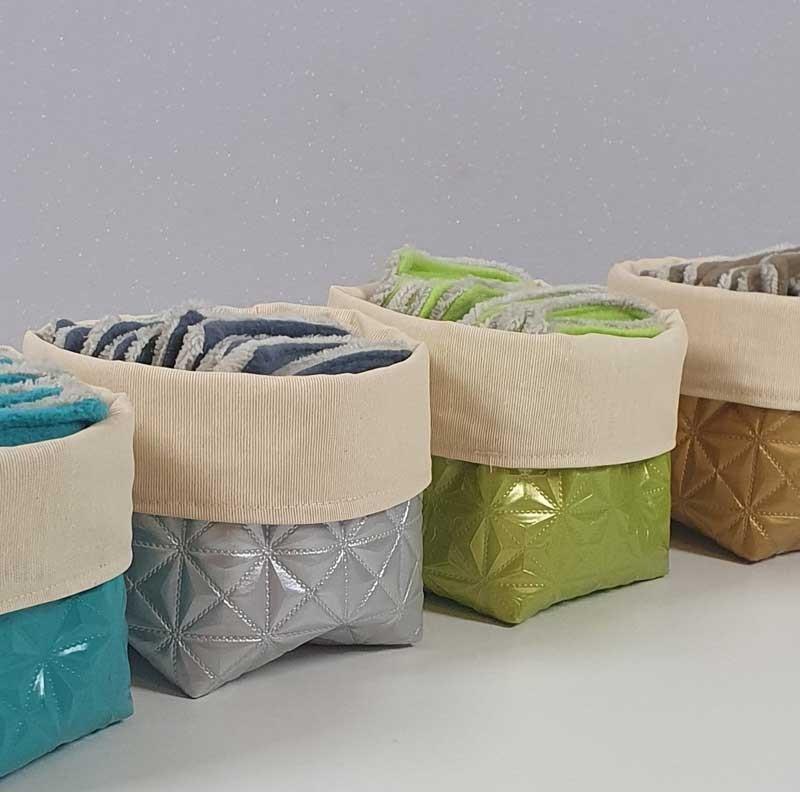 Coffret 10 coton démaquillants lavables - Motif Or - Gris - Turquoise - Pomme