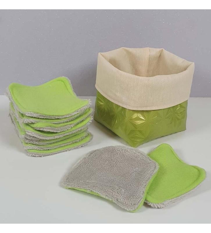 Coffret 10 coton démaquillants lavables - Motif - Pomme